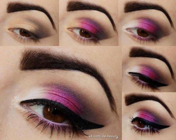 грим кафяви очи идеи лилаво очна линия