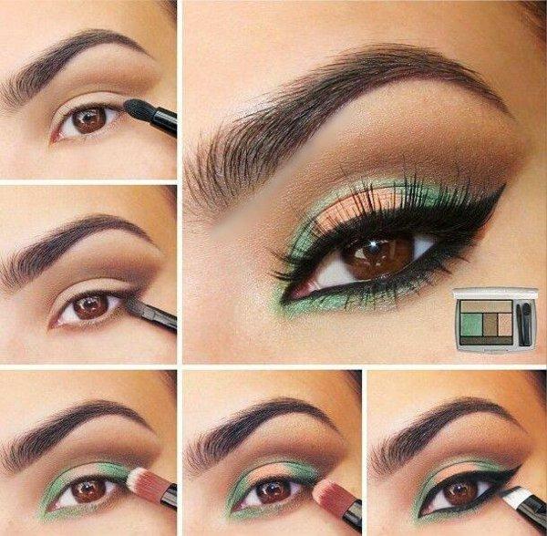 грим кафяви очи идеи зелено очна линия