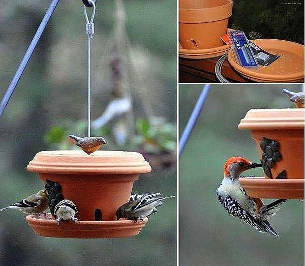 idei za- dekoraciq na gradinata glineni saksii hranilka ptici