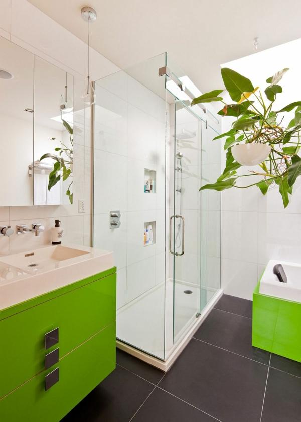 интериорен дизайн на зелено бяла баня