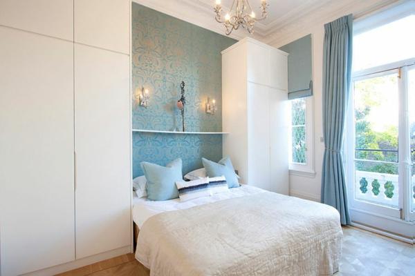 interioren dizain spalnq sinio bqlo skandinavski stil