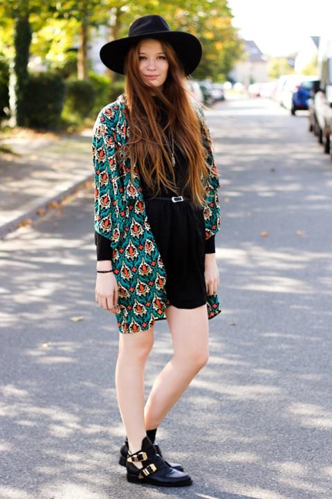 kimono zelen print