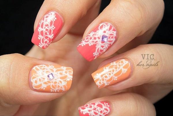 koralov leten manikur s dekoraciq dantela