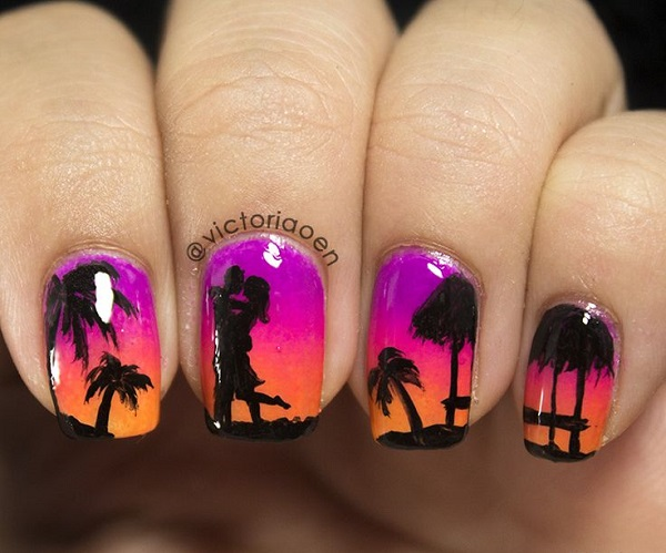 lilavo oranjev manikur za lqtoto s palmi za dekoraciq