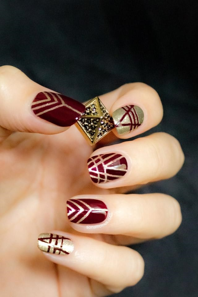 manikur zlatisto marsala nokti