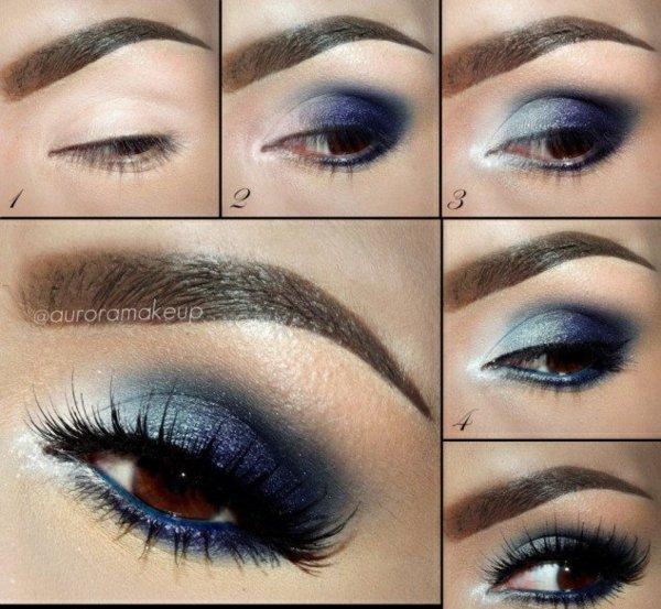 грим кафяви очи идеи синьо спирала