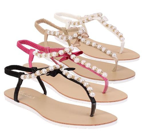 Ниски сандали с перли