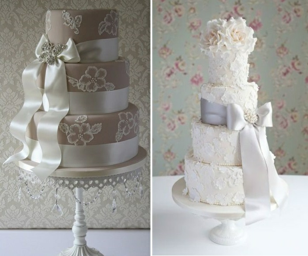 сватбени торти с панделки