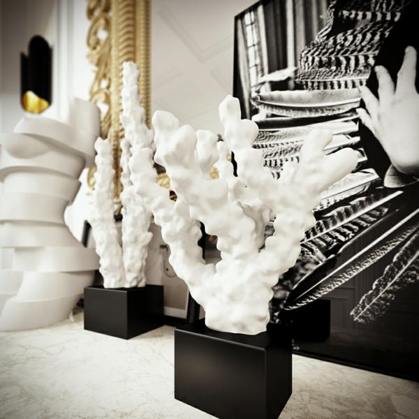интериорен дизайн в бяло и черно декорация бяло идеи