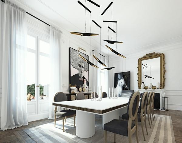 интериорен-дизайн-в-бяло-и-черно-маса-трапезария-идеи