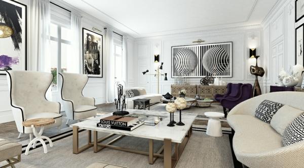 интериорен дизайн в бяло и черно дивани маса идеи