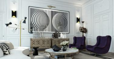 Интериорен дизайн в бяло и черно