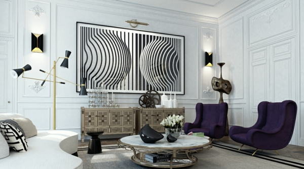 интериорен дизайн в бяло и черно фотьойли лилаво бяло идеи