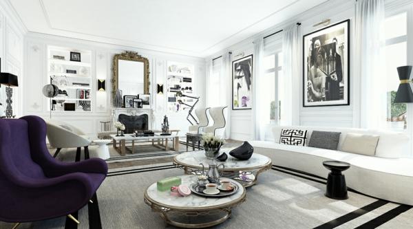 интериорен дизайн в бяло и черно дивани мебели картини идеи