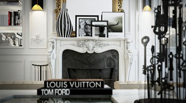интериорен дизайн в бяло и черно камина идеи