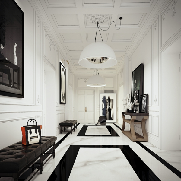 интериорен дизайн в бяло и черно кордор полилей идеи