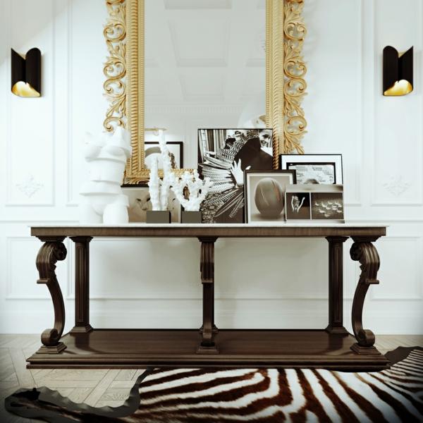 интериорен дизайн  бяло черно златисто