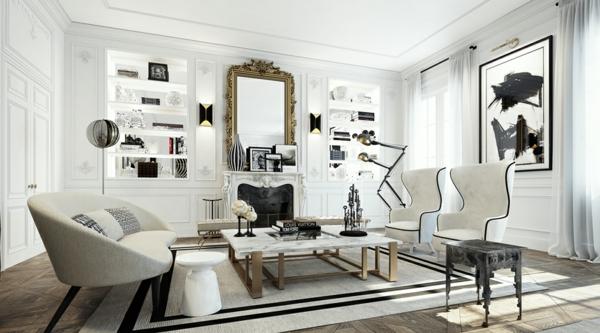интериорен дизайн в бяло и черно обзавеждане идеи