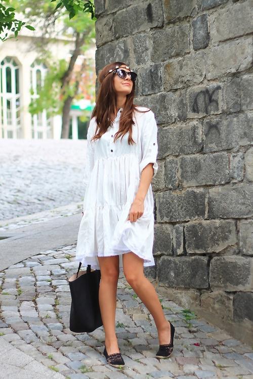 бяла рокля лора empurple
