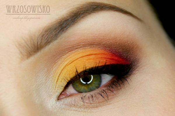 грим за зелени очи идеи жълто оранжево