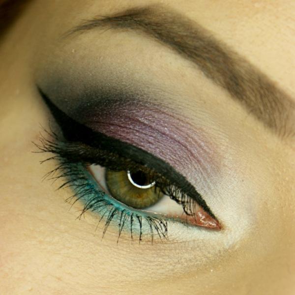 грим за зелени очи идеи в лилаво и синьо