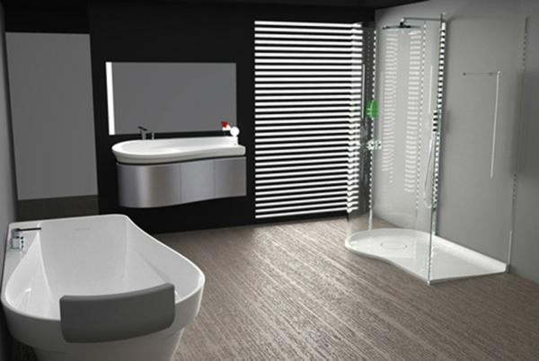 декор модерна баня интериор черно вана