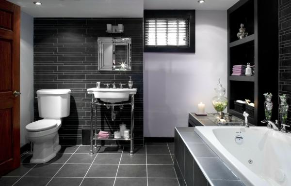 декор на-модерна баня интериор бяло и черно