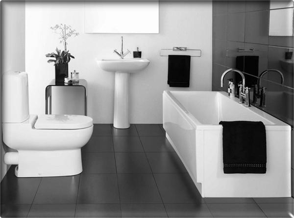 декор на модерна баня интериор черно и бяло
