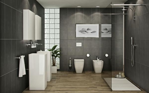 декор модерна баня интериор черно и бяло
