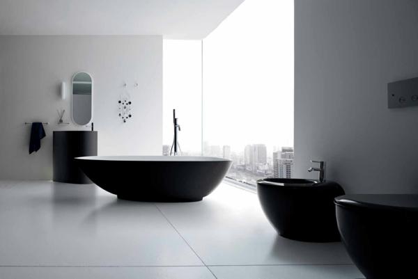 декор модерна баня интериор бяло и черно