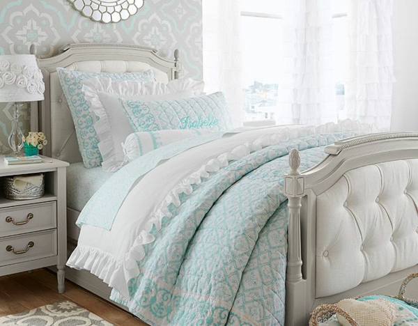 детска стая за момичета бяло синьо интериор идеи