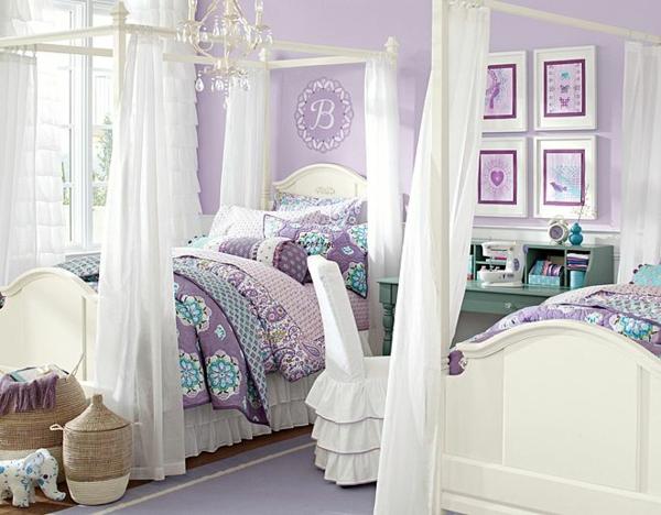 детска стая за момичета интериор лилаво бяло
