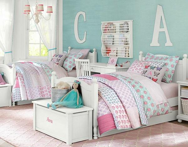 детска стая момичета розово две легла идеи