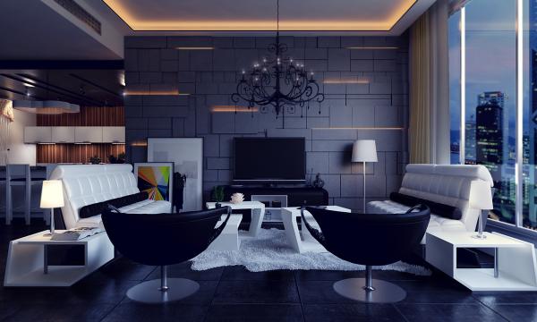 идеи дизайн на хол интериор в черно
