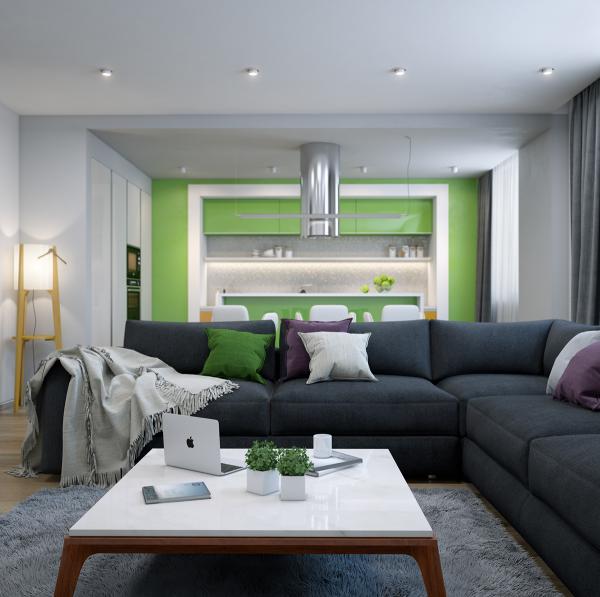 идеи дизайн хол интериор зелено и бяло