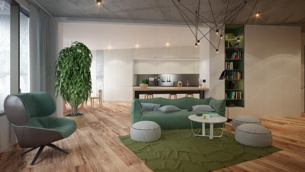 идеи за дизайн на хол в зелено