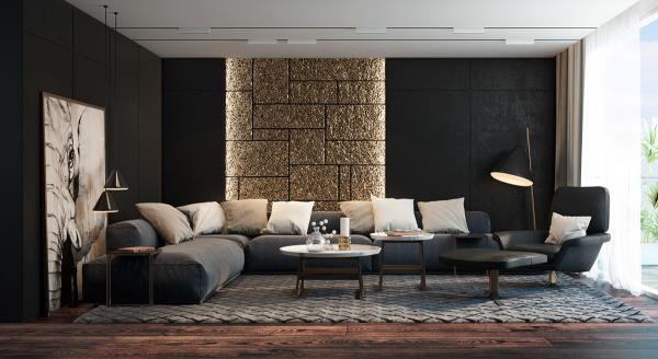 идеи за дизайн на хол в черно каменна стена