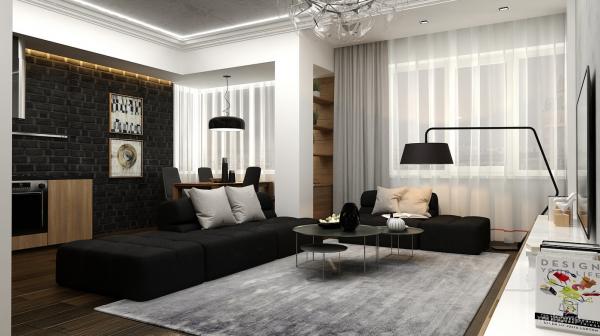 идеи за дизайн на хол интериор в черно и бяло