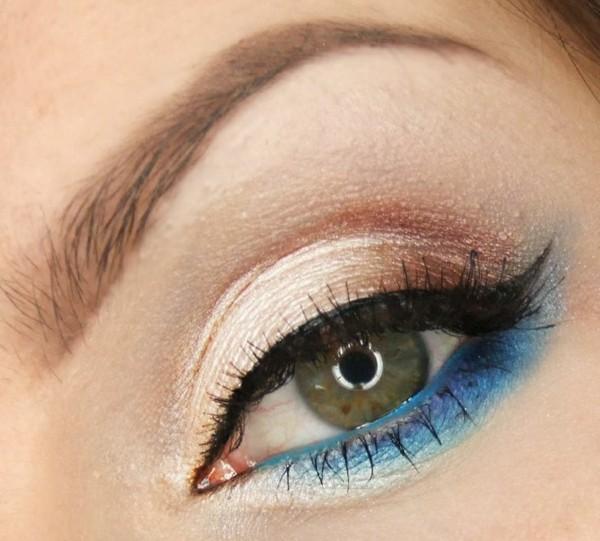 идеи-за-летен-грим-зелени-очи-синьо-бежово