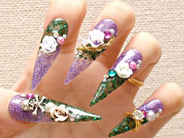 идеи-за-остри-нокти-бяло-цветя