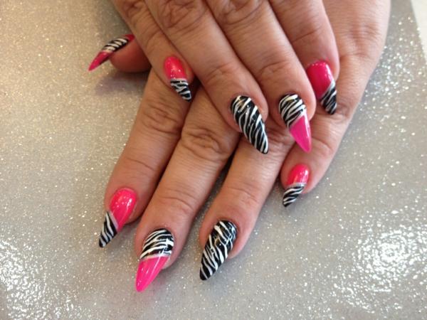 идеи остри нокти в розово и черно