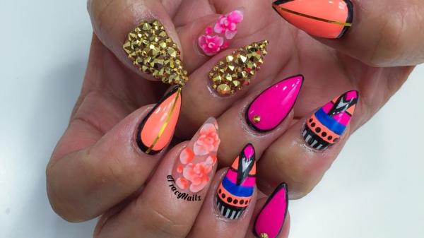 идеи-за-остри-нокти-розово-оранжево