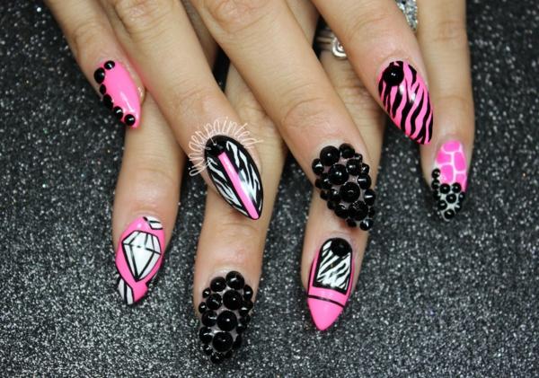 идеи-за-остри-нокти-розово-черно
