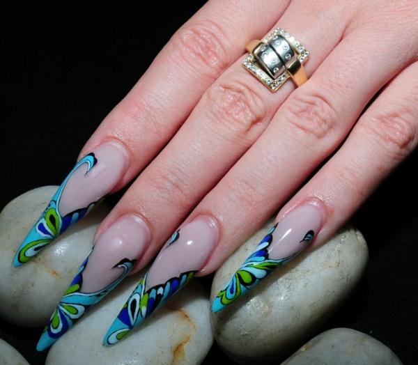 идеи-за-остри-нокти-зелено-синьо