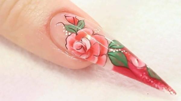 идеи остри нокти с рози