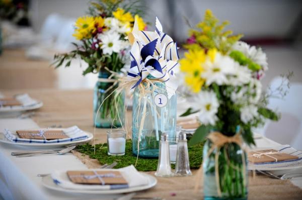 идеи за сватбена украса върху масата