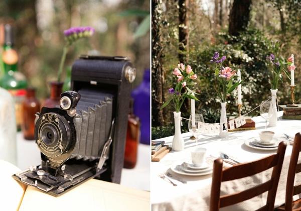 идеи сватбена украса маса фотоапарат