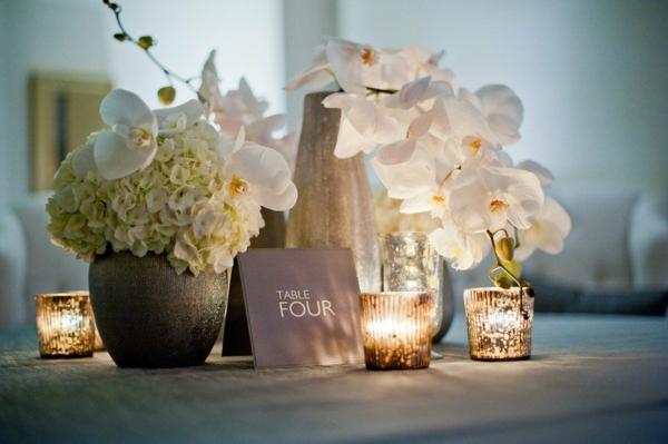 идеи сватбена украса цветя свещи