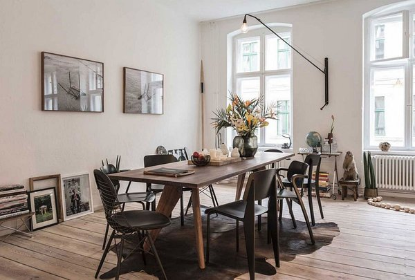 идеи малък апартамент дизайн интериор обзавеждане маса столове