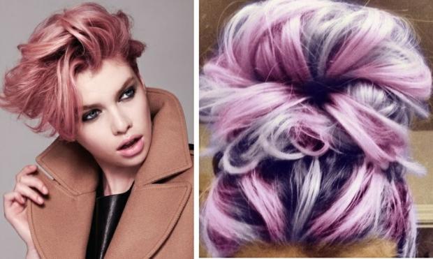 летни прически идеи розово-лилава коса